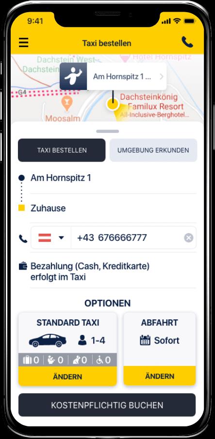 Taxi Spot App Taxi bestellen Zusatzoptionen