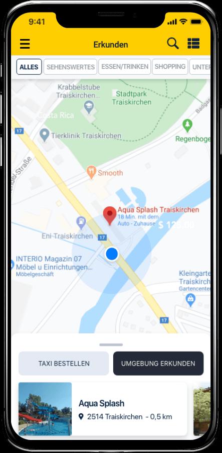 Taxi Spot App Umgebung erkunden Kartenansicht
