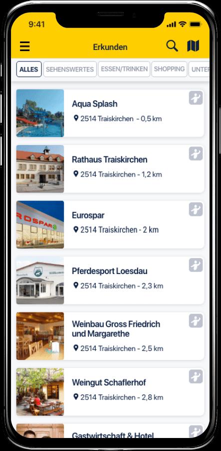 Taxi Spot App Umgebung erkunden Listenansicht